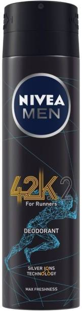 NIVEA MEN 42k Deodorant, with Silver Ions Technology for Max Freshness - No Alcohol - Reduces up to 99.9% Odour-causing Bacteria - Running & Workout Essentials, 150 ml Deodorant Spray  -  For Men