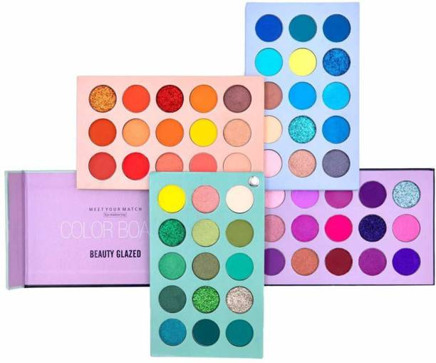 Beauty Glazed COLOR BOARD Highly Pigmented Eyeshadow Palette, Profession 60 Colors Makeup Palette Mattes Shimmers Naked Smokey Glitter Cream Colorful Powder Blendable Long Lasting Waterproof Eye Shadow Palette 180 g