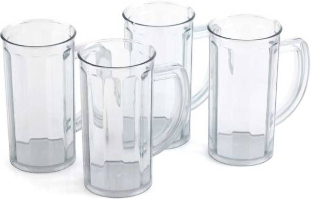 Solomon (Pack of 4) ™ Premium Quality Classic Unbreakable Food Grade | Water | Juice | Beer | Cold Drinks | Plastic Glass With Handel (Set of 4) (Clear) Glass Set