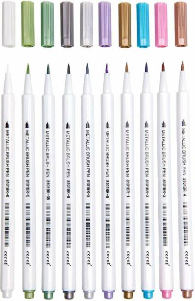 COROT Metallic Brush Marker Pens, 10 Colors Calligraphy Pens for Coloring Drawings Lettering