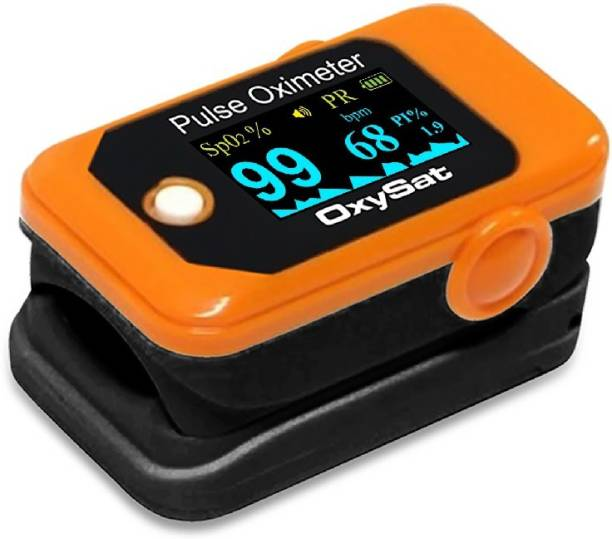 Oxysat Finger Tip Pulse Oximeter with SpO2, Perfusion Index and Pulse Rate readings, OLEDs Display and 18 months warranty Pulse Oximeter