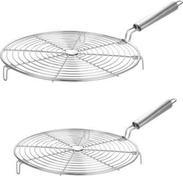 dhriyag pack of 2 Stainless Steel Roster Chapati Grill Feature:- Material: Stainless Steel Strong Sturdy handle that will not rise. Great for making Roti, chapatti, papad. Roti Jari Roti Roast Grill Papad Roaster Grill Chapati Toast Grill Wooden Handle. Great and Easy to use product. Made of stainless steel. Strong Sturdy handle that will not rise. The Steel is made well to put on top of pans to cook. Great for making Roti, chapatti, papad. Stainless Steel Wire Roaster - Use to Roast Papad, Roti, Chapati, Toast, Baigan Bharta, and more. 1 kg Roaster