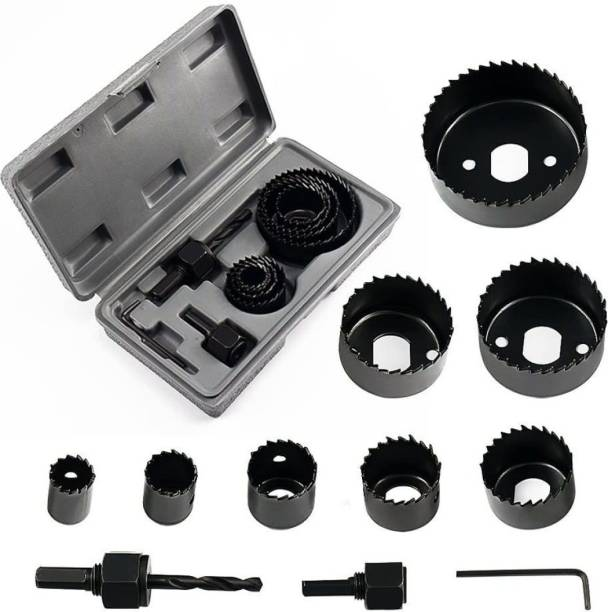 Tulsway arbon Steel Professional 11-Piece 19-64mm Metal Alloys Wood Hole Saw Cutting Set Carbon Steel Professional 11-Piece 19-64mm Metal Alloys Wood Hole Saw Cutting Set Rotary Bit Set (8 Bits) Rotary Bit Set