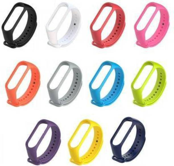 Caxon Sports Soft Silicone Durable TPU Wristband Lightweight Strap For (Watch Not Included) Smart Band Strap- 11 Combo Smart Band Strap