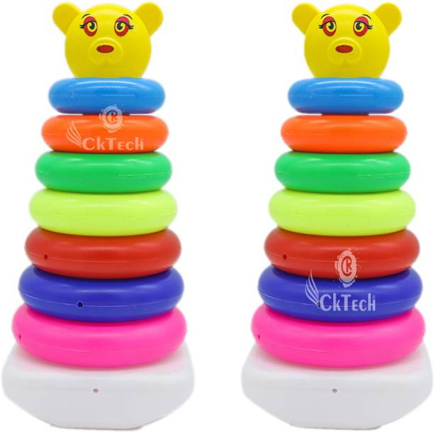 cktech Combo Pack of 2 Smiley Stacking Colouring Teddy Rings for Kids 7 pcs Multi Color, Stacking Toy- malticolor