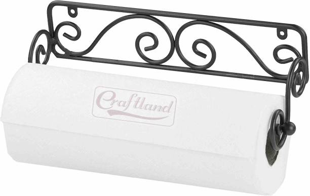 Craftland Wrought Iron Wall Mounted Tissue Paper roll Holder/roll Dispenser for Home/Kitchen. Wooden Toilet Paper Holder