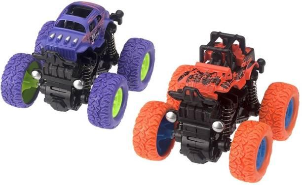 Neel Mini Monster Trucks Friction Powered Cars for Kids Big Rubber Tires Baby Boys Super Cars Blaze Truck Children Gift Toys Mini Rock Crawler (Pack of 2)