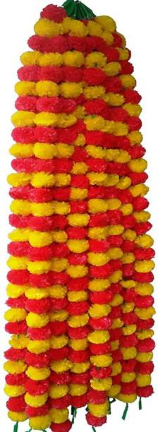 BLISSBURRY traditional artificial flower Yellow, Red Marigold Artificial Flower