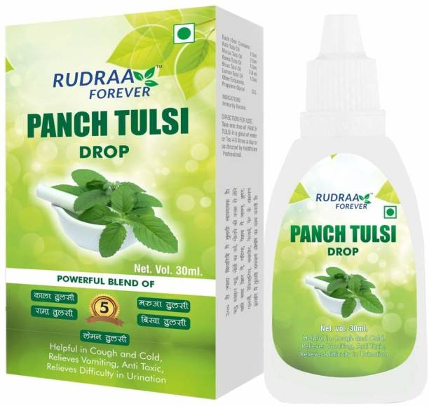 RUDRAA FOREVER PANCH TULSI DROPS 30ml FOR COUGH, COLD AND FEVER PACK OF 2 & 1 BOTTLE FREE OFFER