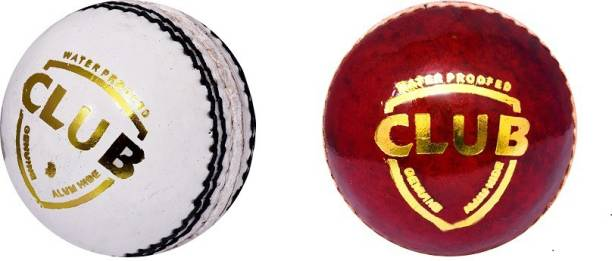 SSI Club Red & White Combo Cricket Leather Ball