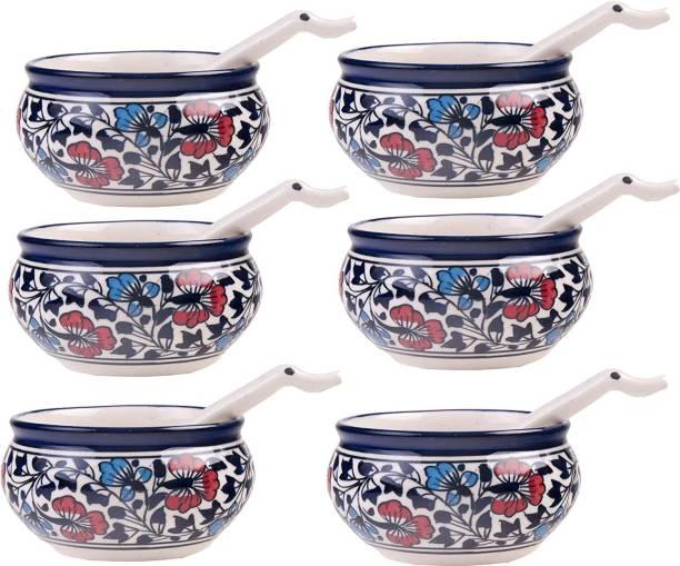 CRaFTghar Soup Bowls Set with spoons ( Set of 6 | Flower design ) Multi Color | 100% Food & Microwave Safe Assured | Blue Pottery | Handmade Gift for Family or Friends Ceramic Soup Bowl