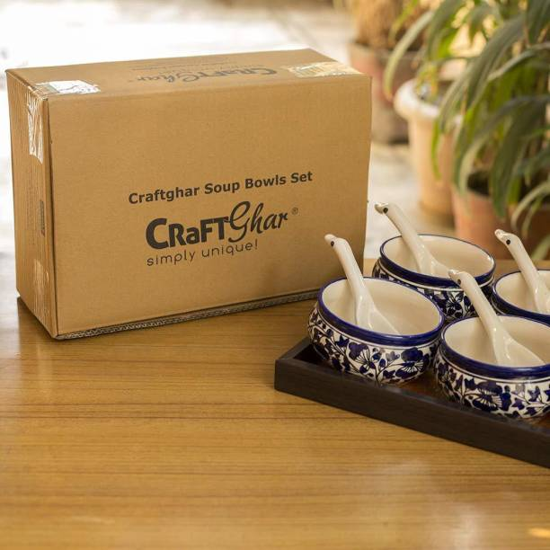 CRaFTghar Soup Bowls Set with spoons ( Set of 6 Ceramic 6 Soup Bowls and 6 Spoons | Flower design ) Blue | 100% Food & Microwave Safe Assured | Blue Pottery | Handmade Gift for Family or Friends Ceramic Soup Bowl