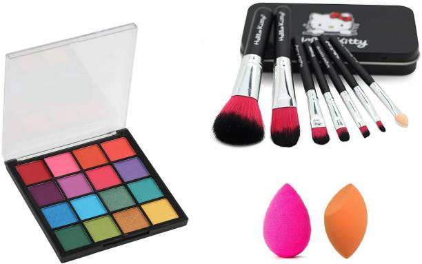 Insta Beauty Glam Eye Shadow + Makeup Brushes + Me Now Blendor Puffs
