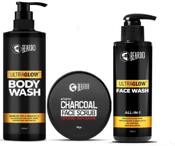 BEARDO Activated Charcoal Scrub, Ultraglow Facewash and Bodywash Combo