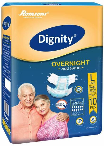 """ROMSONS DIGNITY Dignity Overnight Adult Diapers Large 10 Pcs, Waist Size 38""""- 54"""", (Pack of 1) Adult Diapers - L"""