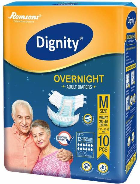 """ROMSONS DIGNITY Dignity Overnight Adult Diapers Medium 10 Pcs, Waist Size 28""""- 45"""", (Pack of 1) Adult Diapers - M"""