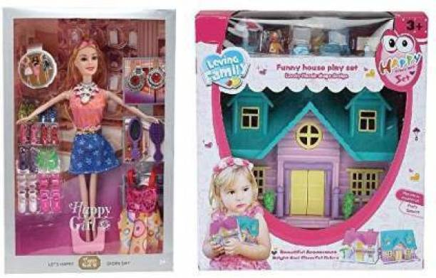Hardik Doll House for Girls / Babbie Doll Set with Pink Slippers Doll , 10 Sets of Fashion Accessories, Dress,earings + a Cute Doll House with Doll (Multicolor)