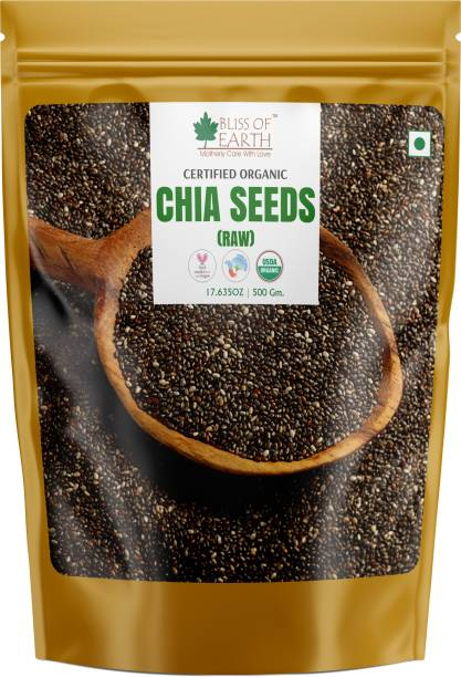 Bliss of Earth 500GM Certified Organic Chia Seeds Raw Superfood For Weight Loss