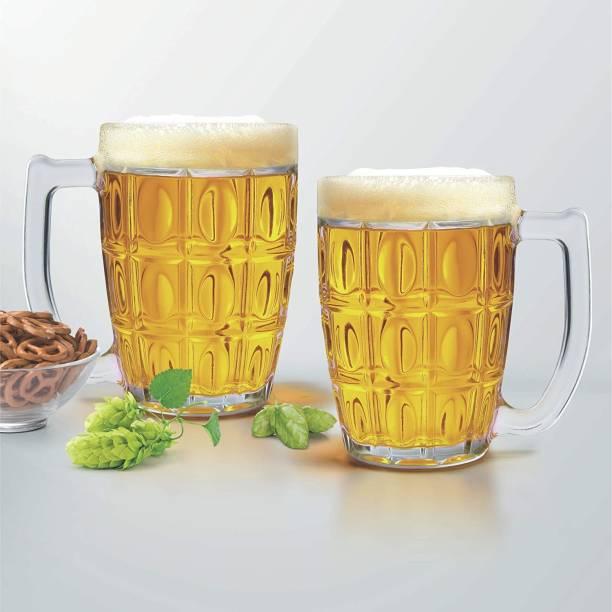 Marwari Arts (Pack of 2) Beer Glass Set Barware Beer Mug Bar Crystal Clear Mug For Birthday New Year House Party Glass Set