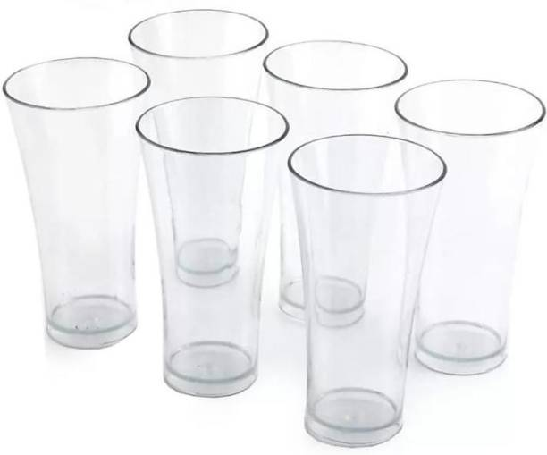 HUMBLE KART (Pack of 6) (Pack of 6) 6 Pcs. Unbreakable Transparent Water, Juice, Cold Drinks Glass Set 300 Ml High Grade Poly Carbonate Plastic Glasses Glass Set (300 ml, Plastic) Glass