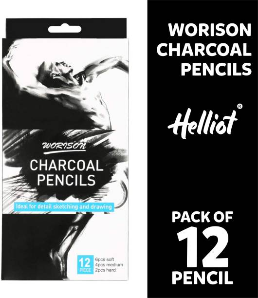 Helliot Graphite Soft Medium and Hard Charcoal Pencils for Drawing, Sketching, Shading, Artist Pencils for Beginners & Artists Pencil