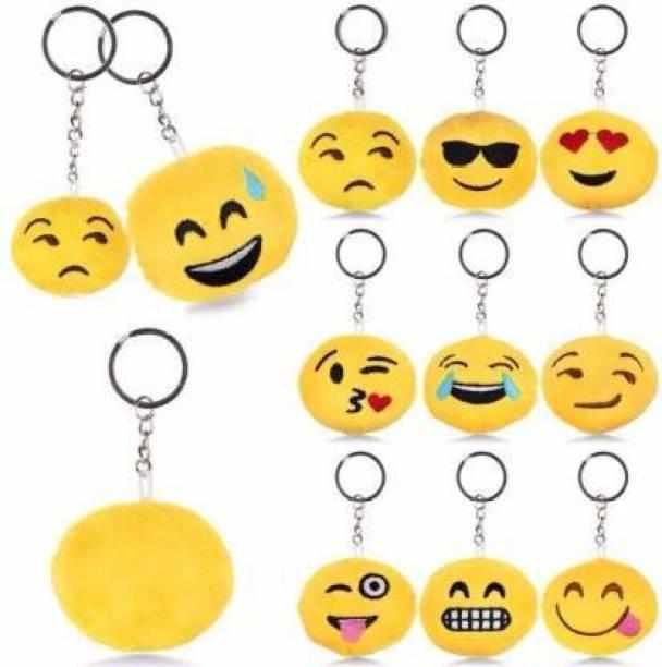 Rockjon Fluffy 12 Smiley Emoji Keyrings & Keychains for car Bike Key Chain Key Chain