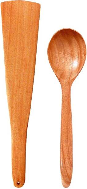 Tora Creations Neem Wood Spatula & Serving Spoon for Cooking Serving, Wooden Ladle for non stick (Pack 2) Brown Kitchen Tool Set