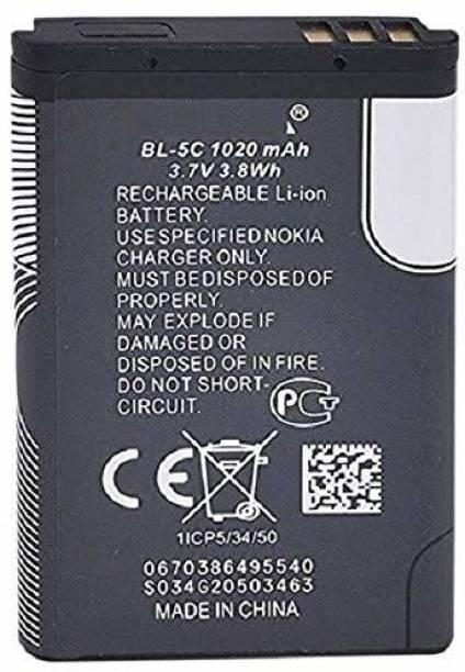 high backup Mobile Battery For  Nokia Nokia (BL-5C BATTERY )100, 101, 110, 114, 1100, 1101, 1110, 1112, 1200, 1208, 1209, 1600, 1616, 1650, 1680 classic, 1800, Asha 202, Asha 203, Asha 205, 207, 208, 2300, 2310, 2323 classic, 2330 classic, 2600, 2610, 2626, 2700 classic, 2710 Navigation Edition, 2730 classic, 3100, 3109 classic, 3110 Classic, 3120, 3610 fold, 3650, 3660, 5030 XpressRadio, 5130 XpressMusic, 6030, 6085, 6230, 6230i, 6267, 6270, 6555, 6600, 6630, 6670, 6680, 6681, 6820, 6822, 7600, 7610, C1-00, C1-01, C1-02, C2-00, C2-01, C2-02, C2-03, C2-06, E50, E60, N70, N71, N72, N91, Ngage, Ngage QD, X2-01, X2-05