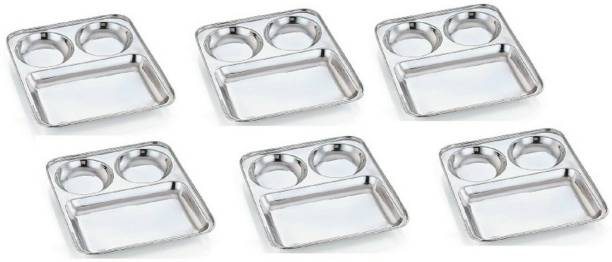 PARDEEP KHERA bhojan thal ,set of 6 bhojan thal, 3 in 1 Sectioned Plate