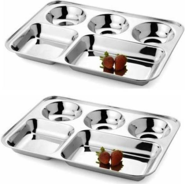 PARDEEP KHERA BHOJAN THAL SET OF 2 PIECES 5 COMPARTMENTS EACH Sectioned Plate