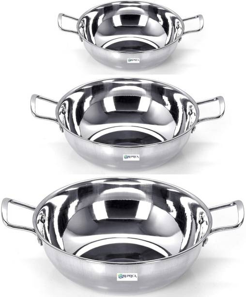 REPLICA STAINLESS STEEL KADHAI/KADAI/WORK/COOKWARE/COMBO SET OF 3 PC PCS PIECE 22 GAUGE HEAVY PREMIUM EXPORT QUALITY (SIZE-2.500, 1.750, 1.250 Litre)(Gas Stove, Induction and Electric Gas Compitable) Kadhai 24 cm
