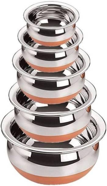 Claret Enterprises Copper bottom handi Pot 5 Piece Set/Steel Handi Set 5 Piece Set/Cookware Chetty Combo Set Handi 2.1 L, 1.6 L, 1.1 L, 0.8 L, 0.5 L