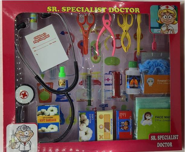 BVM GROUP New Design Handy Doctor Medical Set ,20 Piece (inclued 2 useable mask ,2 Hair Surgical Cap(High Quality Non Toxic),Pretend and Play Medical Checkup Toy- Fun Role Play Games for 3 yr Old Kids+Doctor Play Set for Toddler,Doctor Set