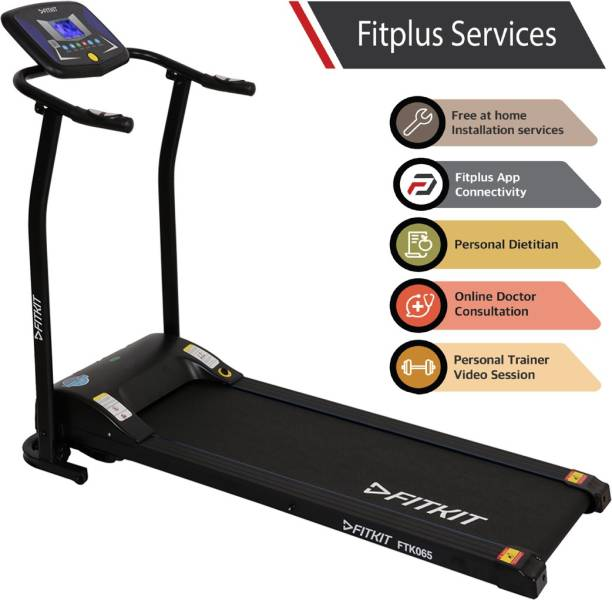 FITKIT FTK065 (2HP Peak Power) Easy Lubrication with Free Diet Plan,Trainer & Installation Services Treadmill