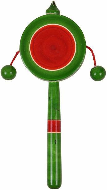 Smartcraft Plate Rattle, Wooden Rattle Hand Drum Kids Toy- Multicolor Rattle