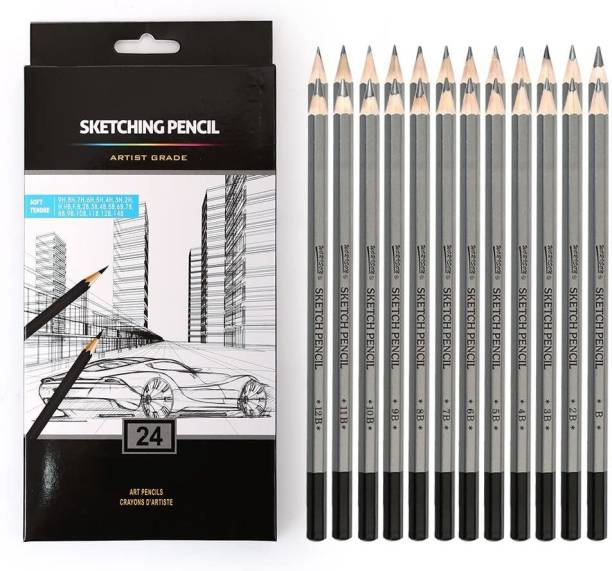 Helliot Graphite Art Pencils 14B, 12B, 10B, 9B, 8B, 7B, 6B, 5B, 4B, 3B, 2B, B, HB, F, H - 9H, Graphite Shading Pencils for Beginners & Pro Artists Pencil