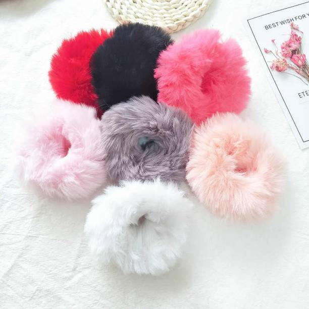 FASHIONER Soft Fluffy Fur Elastic Multicolour Hair Rubber Bands For Kids Girls Women Hair Band(Multicolor) Rubber Band