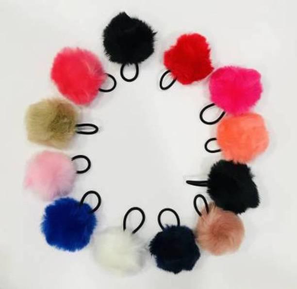 vipanita RUBBERBAND FUR POM POM RUBBER HIGH ELASTIC (Multicolor) Hair Tattoo/Sticker