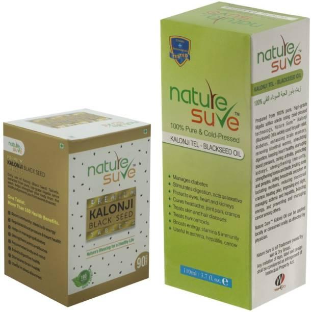 Nature Sure Combo 110ml Kalonji Black Seed Oil & 90 Kalonji Tablets for men and women Hair Oil