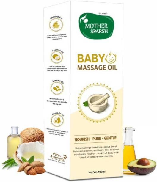 Mother Sparsh Ayurvedic Baby Massage Oil, 18 Herbal extracts and Oils - Lajjalu, tagar, Almond & Avocado Oil, 100ml