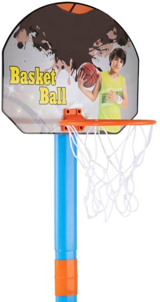 Kirat 2 in1 Basketball Set with Adjustable Stand and Magnetic Dart Game for Kids for Indoor and Outdoor use (Rubber Basketball and 3 Darts Included in The Box) (Multi Colour) Basketball