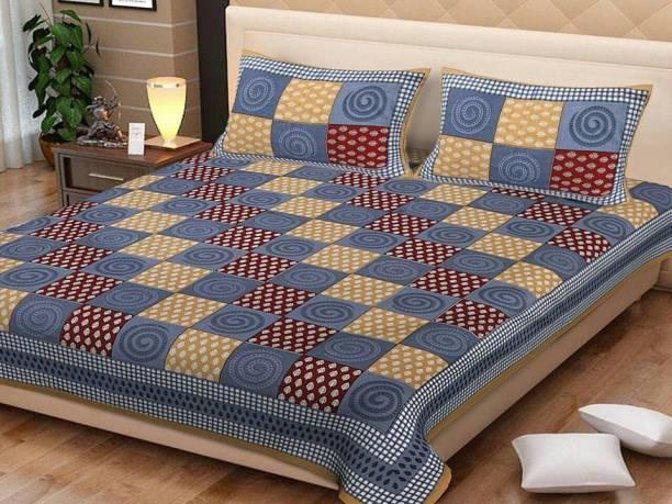 zeevrap 144 TC Cotton King Checkered Bedsheet