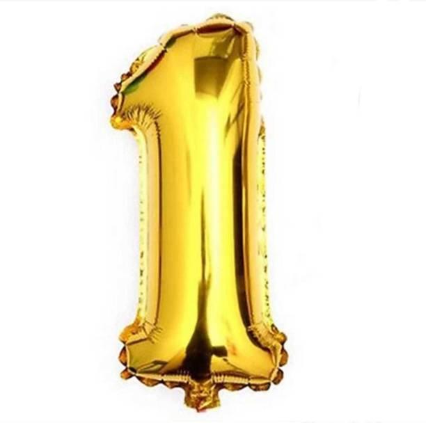 niks Solid Golden One '1' Number/Digit/Numerical Foil Balloon Airwalker