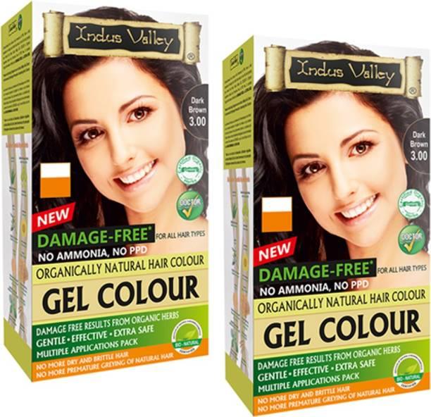 Indus Valley Organically Natural Gel Dark Brown 3.00 (Pack of 2) , Dark Brown 3.00