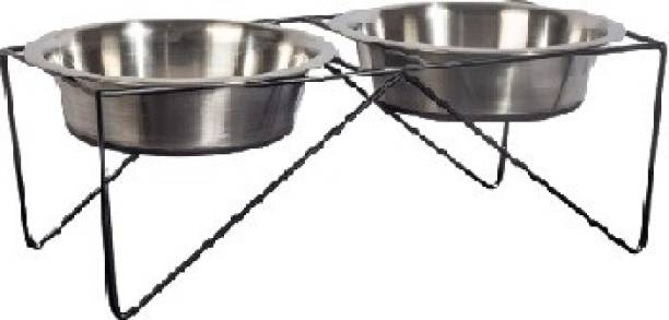 PETS EMPIRE Wrought Iron Dog Bowl Stand Collection Diner for Dogs and Cats Stainless Steel Food and Water Bowls Round Iron Pet Bowl
