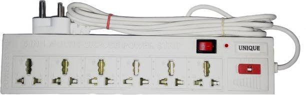 Unique 6 socket white extension board with one indivdual switch 6  Socket Extension Boards