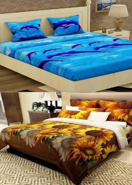 COTTON VILLAS 144 TC Polycotton Double 3D Printed Bedsheet