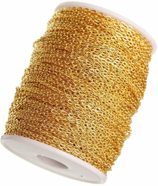 Delush Jewellery Making Chain for Jewellery Craft and DIY Making Purpose Golden (10Meter)