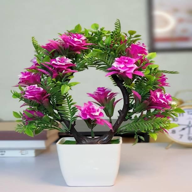 Flipkart SmartBuy Multi flower Plant For Home Office Decoration Purple Hibiscus Artificial Flower  with Pot