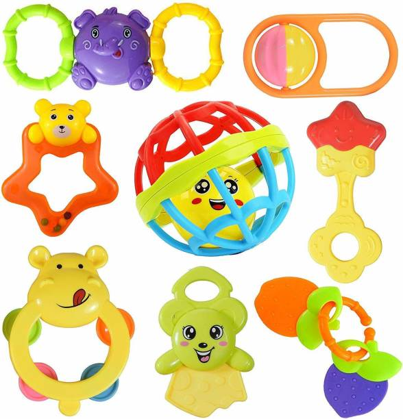 Shoptix Attractive Rattle for New Borns Baby and Infants Teether for Babies, Toddlers (Set of 8) Rattle